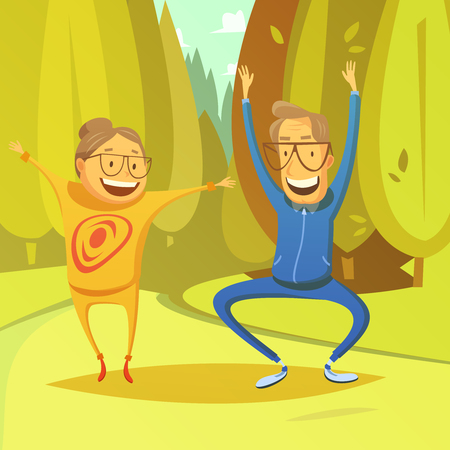 exercising: Senior people and gymnastics background with forest and field cartoon vector illustration Illustration