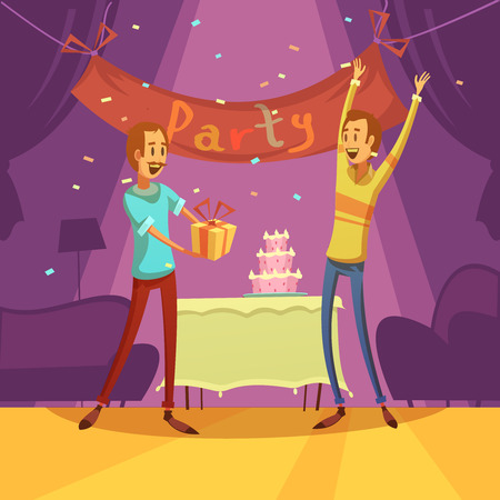 cartoon present: Friends and party background with cake decorations and present cartoon  vector illustration