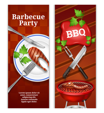 Bbq vertical banners with juicy steak on plate and grilled meat products on barbecue vector illustration