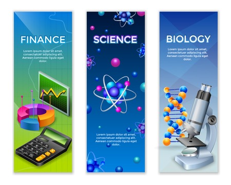 Science vertical banners set with finance statistic design elements for chemical and biological research vector illustration Illustration