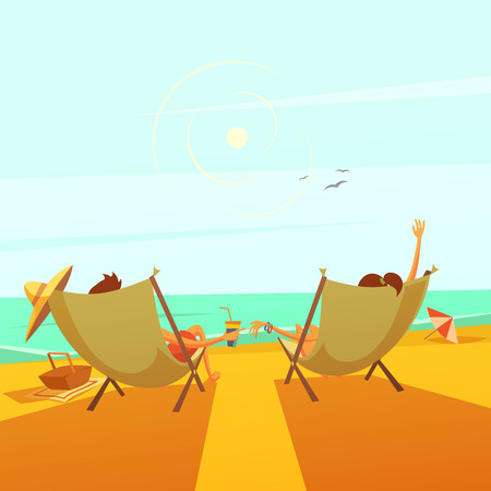 lounges: Beach rest background with a couple in chaise lounges at sea cartoon vector illustration