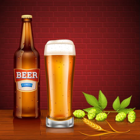 cebada: Concepto de dise�o con la botella de cerveza de cristal lleno de picos cerveza de cebada y l�pulo conos en la pared de ladrillo de fondo ilustraci�n vectorial