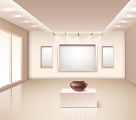 galleria espositiva interna con il vaso marrone su piedistallo cornici decorativi muro e illuminazione a soffitto illustrazione vettoriale