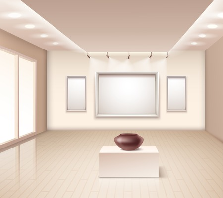 Exhibition gallery interior with brown vase on pedestal decorative wall frames and illumination at ceiling vector illustration