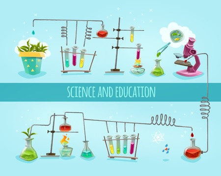 科学と教育大学学校生化学研究室研究機器 2 フラット バナー水平構成の抽象的なベクトル図  イラスト・ベクター素材
