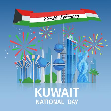 national: Kuwait cartel del día nacional con el paisaje urbano de la capital de los edificios famosos y fuegos artificiales decorativos ilustración vectorial