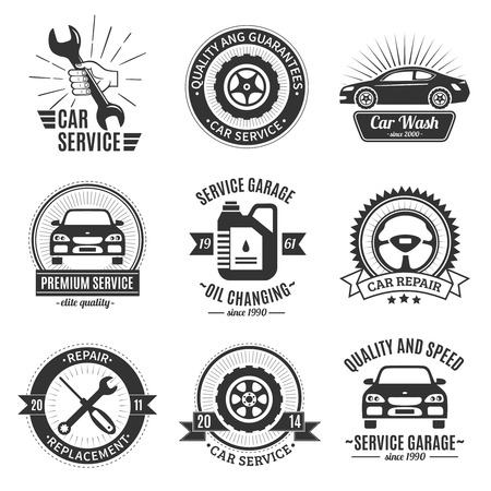 auto washing: Auto services black white emblems with bodies of cars wrench screwdriver washing canister wheel isolated vector illustration