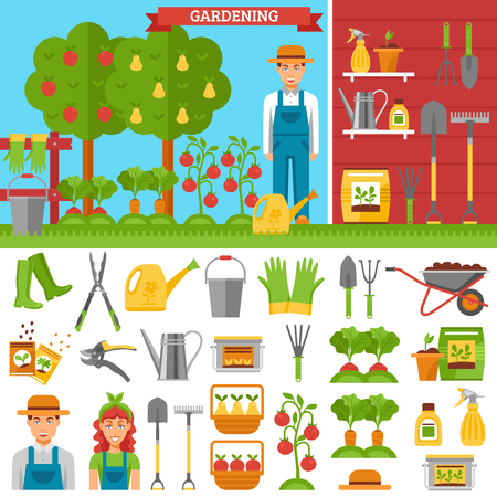 fertilizer: Growing vegetables and fruits in garden with ground fence seeds sprouts fertilizer tool harvest isolated vector illustration