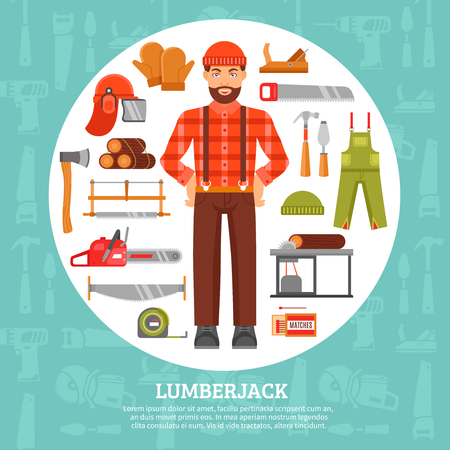 blue overall: Lumberjack and tools icons set with saws axes overall in white circle with blue background vector illustration Illustration