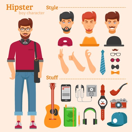 haircuts: Hipster boy character decorative icons set with avatars haircuts hats ties guitar pipe watch isolated vector illustration Illustration