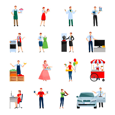 vendor: Sellers decorative icons set with sale of flowers cars icecream house feed for pet isolated vector illustration