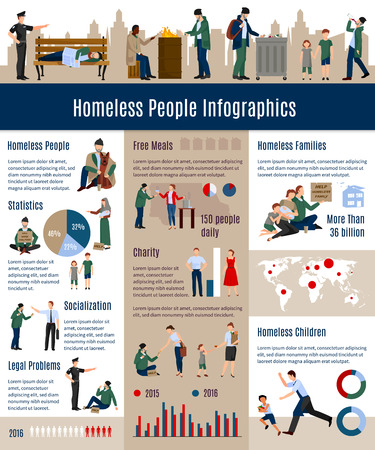 poverty: Homeless people infographics proportion growth of homeless people in society related to the previous years vector illustration