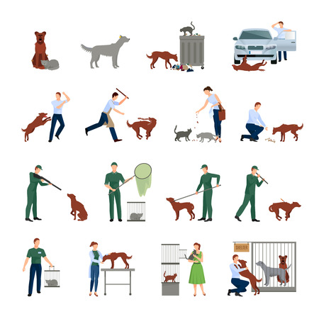 Stray animals icons set behavior of animals in society catching treatment in a veterinary clinic and finding them shelter protection vector illustration Çizim