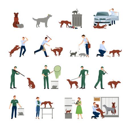 Zwerfdieren pictogrammen instellen gedrag van de dieren in de maatschappij het vangen van behandeling in een dierenkliniek en het vinden van hen onderdak bescherming vector illustratie Vector Illustratie