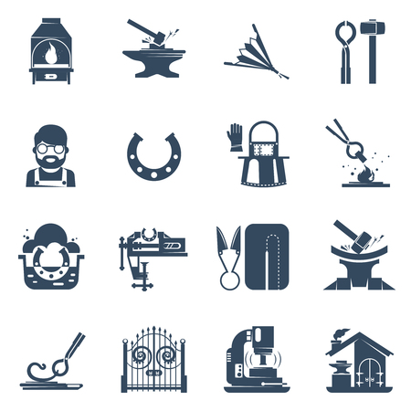 anvil: Blacksmith black icons set with tin snips hammer anvil iron gates welding machine isolated vector illustration Illustration