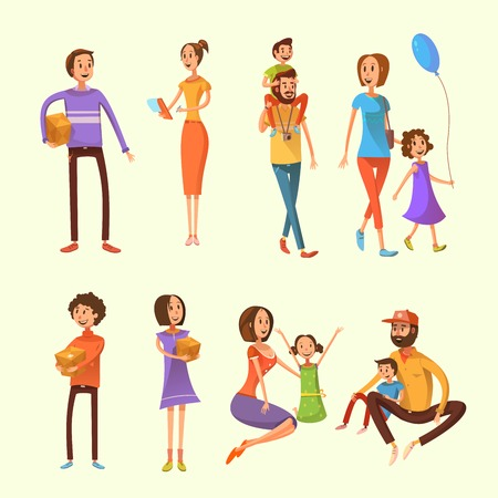 weekend activities: Family and children cartoon set with weekend activities and moving houses symbols on yellow background cartoon isolated vector illustration