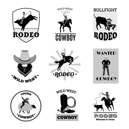 bullfight: Monochrome black emblems set of cowboy rodeo games like bullfight or mustang ride flat isolated vector illustrations