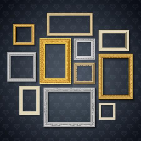 rectangular: Vintage traditional realistic frames set on dark wall isolated vector illustration