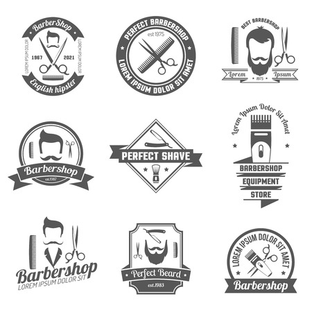 grey hair: Collection original grey sign of barber shop for emblem  with white background isolated vector illustration