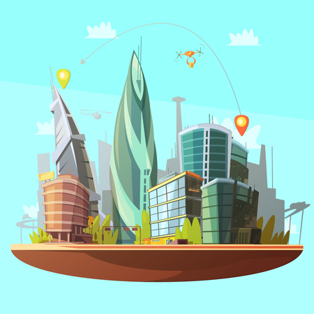 san francisco bay: Modern city downtown buildings distinctive skyline and services concept with drone parcels delivery poster cartoon vector illustration