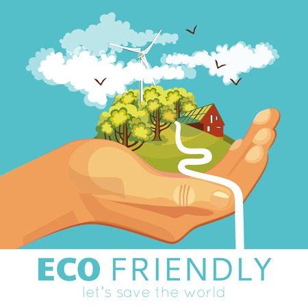 biological: Saving of environment poster with countryside and ecosystems at palm on blue background vector illustration Illustration