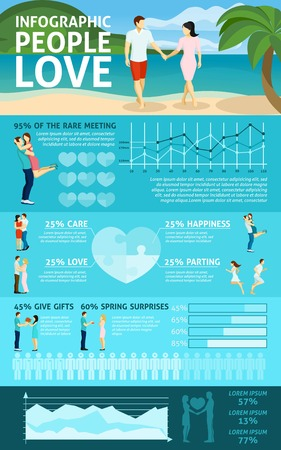 parting: People in love infographics with charts bars and graph in shape of heart vector illustration