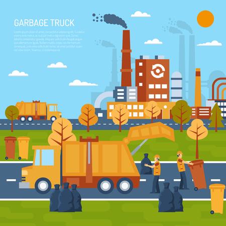 De kleurenillustratie van de vuilniswagen met titel en informatiegebied vectorillustratie