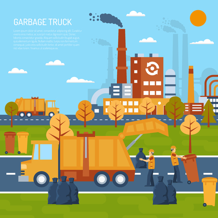 garbage bag: Garbage truck color illustration with title and information field vector illustration