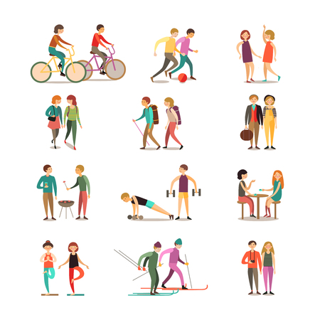 Friends and hobbies decorative icons set with hiking dancing soccer skiing barbecue sightseeing isolated vector illustration 일러스트