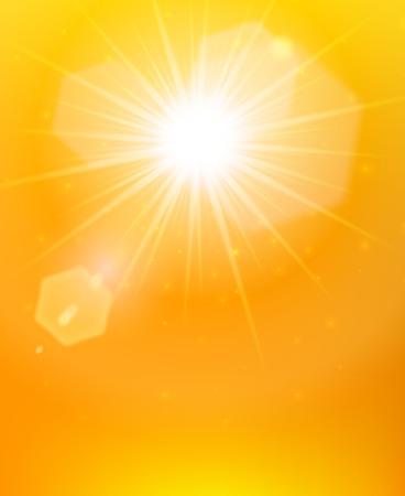De zonnestralen poster fel zonlicht met fakkels op de abstracte oranje achtergrond vector illustratie Stock Illustratie