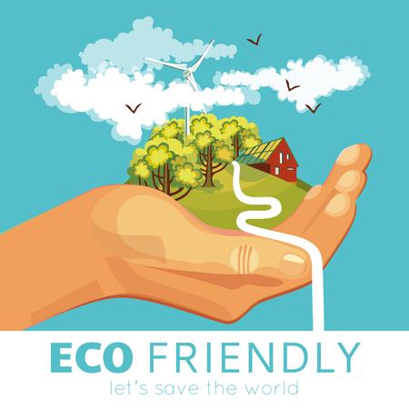 atmosfera: Ahorro de cartel con el medio ambiente y los ecosistemas en el campo de la palma en el fondo azul ilustración vectorial