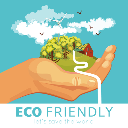 ecosystems: Saving of environment poster with countryside and ecosystems at palm on blue background vector illustration Illustration