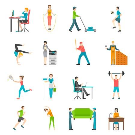 actividad fisica: Conjunto de iconos de colores planos que representan las personas de actividad física al aire libre o en casa ilustración vectorial de trabajo