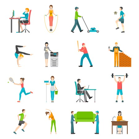 Set of flat color icons depicting physical activity people home outdoor or work vector illustration