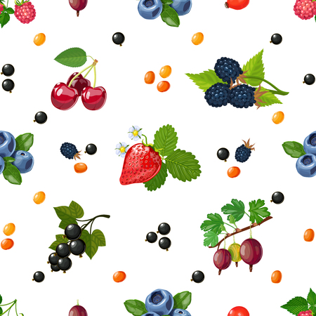 bilberry: Fresh wild and garden berries mix colorful pattern for textile placemats and wrapping paper abstract vector illustration Illustration