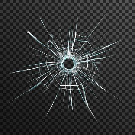 Einschussloch in transparentem Glas auf abstrakten Hintergrund mit grauen und schwarzen Ornament Vektor-Illustration in realistischen Stil.
