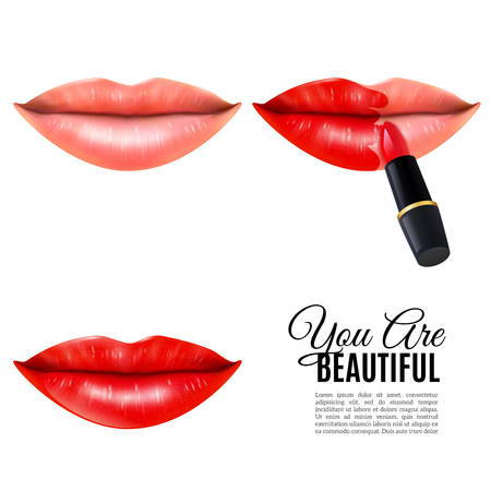 Applying red lipstick colorful pictorial steps icons set for beautiful lips white background poster realistic vector illustration