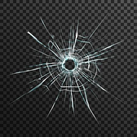 sabotage: Bullet hole in transparent glass on abstract background with grey and black ornament vector illustration in realistic style.