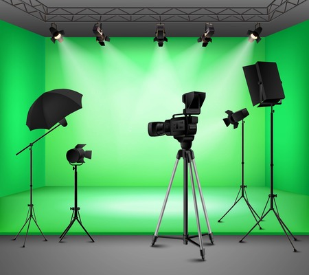 photo backdrop: Realistic green screen studio interior with floodlight kit umbrella camera and softbox vector illustration