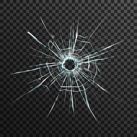 Gat van de kogel in transparant glas op abstracte achtergrond met grijze en zwarte ornament vector illustratie in realistische stijl.