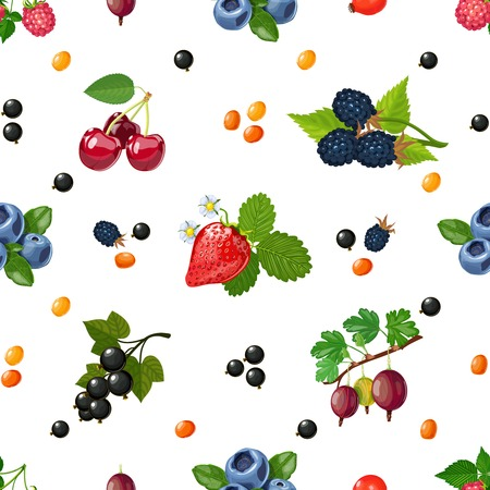 forest products: Fresh wild and garden berries mix colorful pattern for textile placemats and wrapping paper abstract vector illustration Illustration
