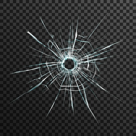cracked glass: Bullet hole in transparent glass on abstract background with grey and black ornament vector illustration in realistic style.