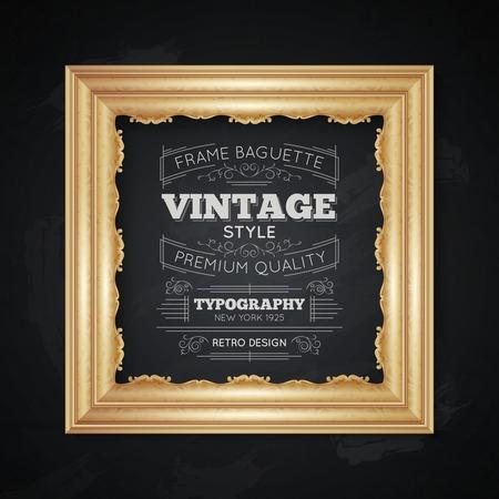 Tipografia realistica cornice d'epoca con simboli di qualità premium illustrazione vettoriale Archivio Fotografico - 55977026