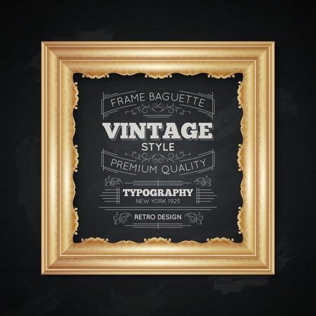 Vintage frame realistic typography with premium quality symbols vector illustration Ilustracja