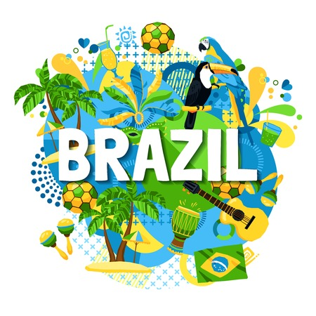 tucan: Colorful poster with native symbols of brazil mixed together on the white background vector illustration