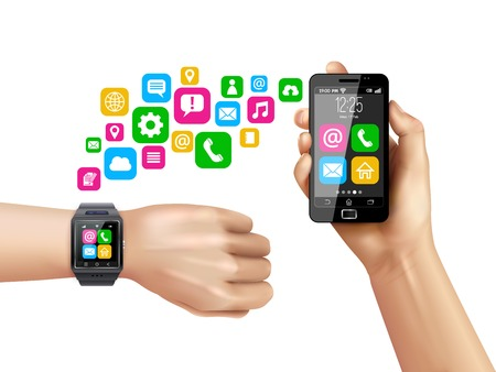 compatible: Transferring data from smartwatch on hand to smartphone process with colorful apps symbols white background vector illustration Illustration