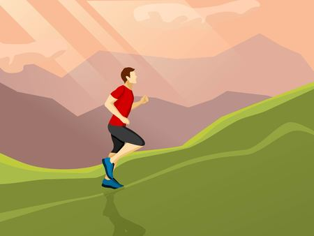 alone man: Poster with flat icon of man running alone up the hill on the landscape background vector illustration