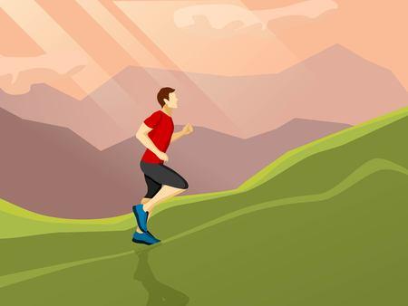 Cartel con el icono de plano del hombre que corre solo por la colina en el fondo del paisaje ilustración vectorial