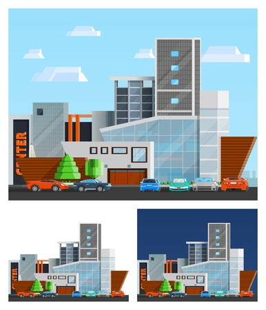 compositions: Shopping mall building orthogonal compositions set with parking and cars flat isolated vector illustration