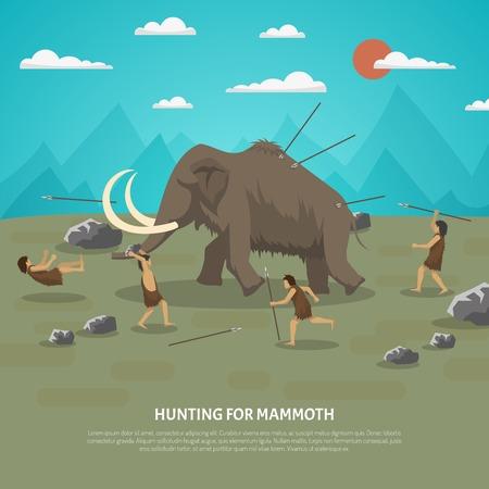 Ilustración de color que muestra la caza de hombre de las cavernas de mamut en la edad de piedra prehistórica con la ilustración del vector del título